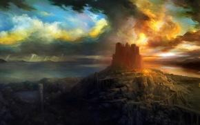 Картинка небо, закат, замок, леса, RPG, Dragon's Crown