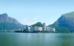 Обои океан, остров, дома, бухта, Город, Бразилия, wallpapers, Рио-де-Жанейро, brasil, Rio de Janeiro, Сity