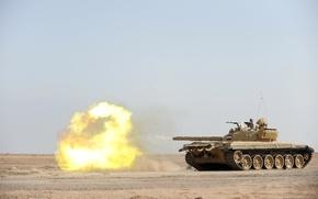 Картинка война, выстрел, танк, Ирак, т-72