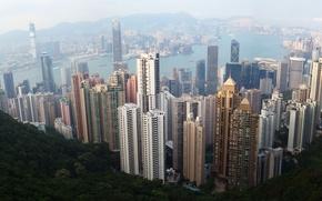 Картинка город, вид, высота, Гон-конг