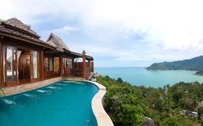 Картинка океан, побережье, вид, Таиланд, panorama, Santhiya Koh Phangan Resort & Spa