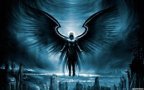 Обои город, крылья, руины, архангел