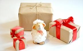 Картинка украшения, Новый Год, подарки, овечка, New Year, sheep, Happy, 2015