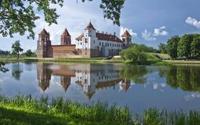 Обои вода, отражение, Беларусь, Гродненская область, Мирский замок, пруд, Mirsky Castle Complex