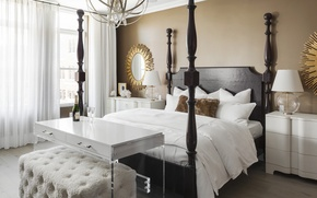 Картинка дизайн, стол, кровать, подушки, спальня, декор