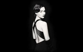 Картинка девушка, лицо, спина, актриса, полумрак, красотка, Кхалиси, Emilia Clarke, Daenerys Targaryen, Эмилия Кларк, Дейенерис Таргариен, …