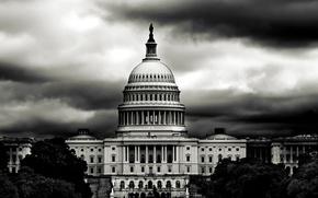 Картинка черно-белое, Капитолий, белый дом