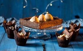Картинка еда, пирог, выпечка, сладкое, кексы, грушы
