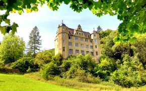 Картинка зелень, трава, деревья, ветки, замок, листва, Германия, кусты