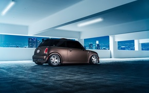 Обои Parking, City, Matte, Nigth, Ligth, Grown, Stance, Rear, Works, Mini, Cooper