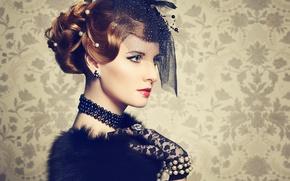 Картинка ретро, портрет, макияж, шляпка, вуаль, Vintage style