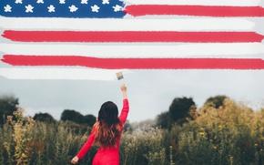 Обои фон, девушка, флаг