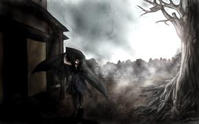 Картинка птицы, город, туман, дерево, катана, naruto, бинты, Uchiha Itachi, uchiha sasuke