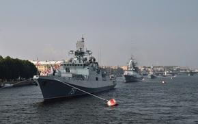 Картинка корабли, Санкт-Петербург, Праздник, боевые, Парад
