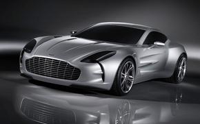 Обои отражение, Aston Martin, серебро, ONE 77