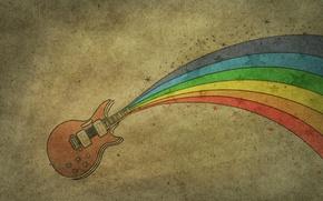 Обои рисунок, гитара, радуга, rainbow, guitar