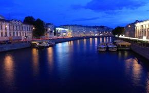 Картинка ночь, огни, река, фонари, Russia, питер, санкт-петербург, St. Petersburg, фонтанки