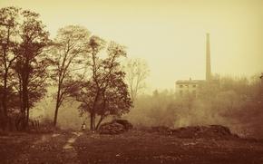 Обои туман, труба, осень, сепия, город