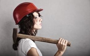 Обои hammer, profile view, helmet, woman