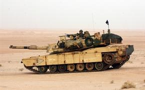 Картинка пустыня, танк, M1A1, Abrams