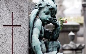 Картинка цветок, крест, ангел, скульптура