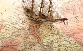 Картинка корабль, карта, европа, europa, морская тема