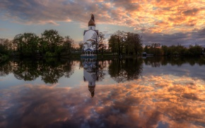 Картинка небо, отражение, весна, Май, храм, Сестрорецк