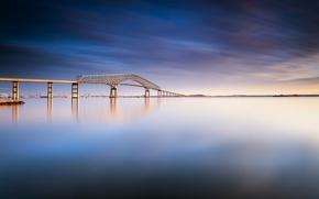 Картинка небо, вода, облака, мост, гладь, река, день, США, синее, Балтимор, Мэриленд