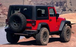 Картинка Concept, красный, джип, вид сзади, Slim, Wrangler, Jeep