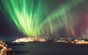 Картинка ночь, океан, скалы, северное сияние, photographer, Mark Gee
