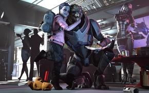 Картинка shepard, Mass Effect, Garrus Vakarian, turian, asari, Quarian, Liara T'Soni, Tali'Zorah