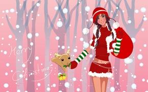Картинка новый год, вектор, снегурка, мешок