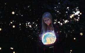 Картинка девушка, свет, глобус