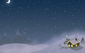 Обои новый год, дом, снег, зима