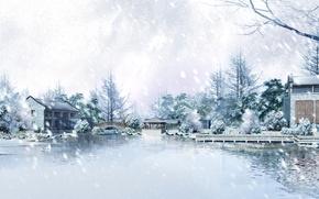 Картинка холод, лед, зима, снег, деревья, снежинки, природа, дом
