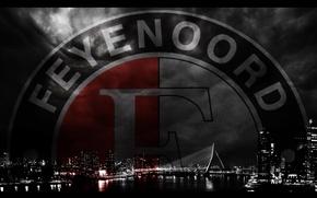Картинка city, wallpaper, sport, logo, night, football, Rotterdam, Feyenoord