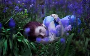 Картинка девушка, цветы, настроение, луг, Maria Elige Aliaeva