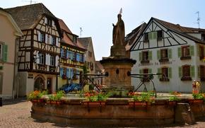 Обои цветы, Франция, дома, площадь, фонтан, статуя, улицы, Euguisheim