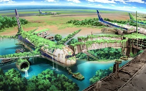 Картинка вода, машины, заросли, водопад, арт, самолеты, развалины, аэропорт, постапокалиптика, терминал