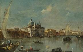 Картинка здания, лодки, italy, venice, francesco guardi