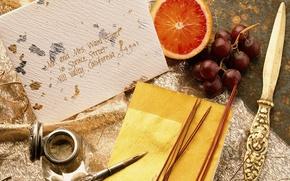 Картинка письмо, перо, виноград, грейпфрут