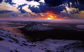 Картинка облака, горы, Закат