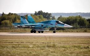 Картинка бомбардировщик, истребитель, аэродром, Су-34