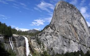 Обои небо, горы, скалы, водопад