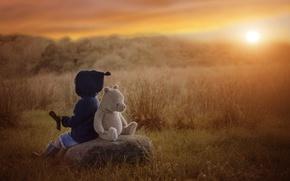 Картинка осень, закат, камень, игрушка, мальчик, медведь, ребёнок, плюшевый мишка
