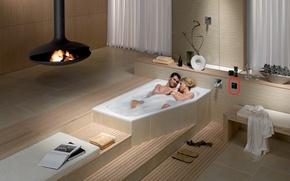 Картинка ванна, камин, двое