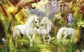 Картинка фантастика, лошадь, единорог, Thomas Kinkade