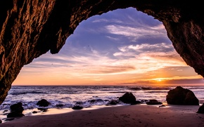 Картинка песок, волны, закат, скала, камни, океан, побережье, Калифорния, США, вход, Малибу, обои от lolita777