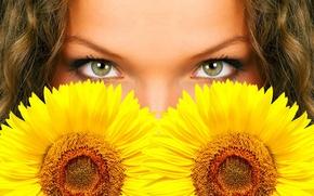 Обои глаза, цветы, подсолнух