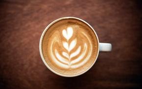 Картинка пена, узор, сердце, кофе, кружка, чашка, белая, капучино
